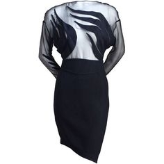 Pre-owned 1990's THIERRY MUGLER black dress with sheer top and... ($1,650) ❤ liked on Polyvore featuring dresses, cocktail dresses, evening dresses, see through dress, sheer dress, see through black dress, sheer cocktail dress and black sheer dress