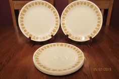 **EXCELLENT** Set Of Eight (8) Vintage Corelle Butterfly Gold Dinner Plates