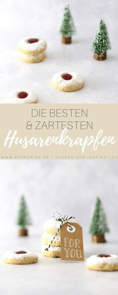 Rezept für die zartesten Husarenkrapfen | Bäckerina Place Cards, German, Place Card Holders, Sweets, Baking, Ginger Beard, Treats, Deutsch, German Language