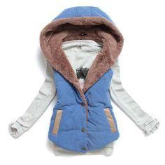 d8a813114c Dámská zimní prošívaná vesta bez rukávů s kapucí MODRÁ – SLEVA 70% a POŠTA  ZDARMA