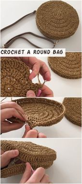How To Crochet A Round Bag - CrochetopediaYou can find Crochet handbags and more on our website.How To Crochet A Round Bag - Crochetopedia Bag Crochet, Crochet Diy, Crochet Handbags, Crochet Round, Crochet Purses, Learn To Crochet, Crochet Crafts, Crochet Clothes, Crochet Stitches