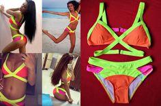 Kostium kąpielowy/ bikini damskie NEON ŻÓŁTY doda siwiec swimwear kardashian agent swimsuit neon colour yellow beach na plażę
