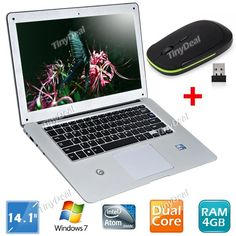 """14.1"""" Windows 7 OS 250GB Super Slim Intel Atom D2500 Dual-core Laptop WIFI Notebook with 2.4GHz Wireless Mouse KB-248324"""