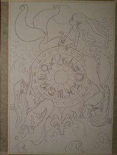 "#WheelofFortune #WIP by Tanya ""TanDoll"" Ross #SeventyEightTarot #wheel #jewel #mermaids #fantasy #tarot #illustration #drawing #refinedsketch www.facebook.com/TanDoll"