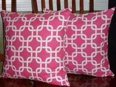 Decorative Pillow Covers in Candy Pink and White Two by berly731