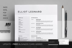 Resume/CV - Elliot by bilmaw creative on @creativemarket