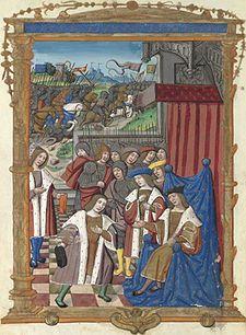 Hommage de st Judicaël à Dagobert et bataille entre Dagobert et les Gascons 16°s/—  En 618, quelques mois après le décès de Bertrude, l'épouse de Clotaire, ce dernier se remarie avec Sichilde, alors gouvernante de Caribert. Dagobert la voit comme une intrigante cherchant à favoriser Caribert .Avec son frère Brodulf elle tente de faire obtenir un héritage égal entre les 2 fils de Clotaire, alors que Caribert est mis à l'écart de la succession pour cause d'incapacité à régner