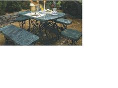 Jade Table Set with forged iron base.. View at www.stonestatuestore.com