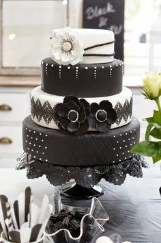 Confetti Black&White Wedding Cakes, Black White, Sweet, Desserts, Beautiful, Food, Confetti, Wedding Gown Cakes, Black And White