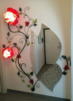 Rose for mirror, wall lamp. - Chandeliers- Roseto per specchio, lampada da parete. Height 200 cm, width 70 cm, with 2 roses of 32 and 25 cm in diameter and 4 magnet butterflies. Mirror Crafts, Home Decor Mirrors, Wall Decor, Room Decor, Wall Lamps, Wall Lights, Flower Lamp, Flower Lights, Decorating Your Home