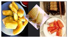 Breakfast of champions mit #jackfruit #pineapple dua #papaya dudu and the neighbors yummy steamed #banana bun  #happyvegan vegan