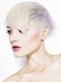 love the silver & white blonde combo on an edgy cut