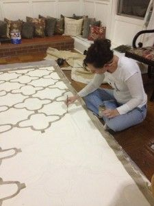 Floor Cloth - hand painting--potentially for under dining table (to protect carpet). Tack down with upholstery tacks?