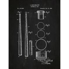 Found it at Wayfair - Sporting Goods 'Baseball Bat' Silk Screen Print Graphic Art in Chalkboard/White Ink