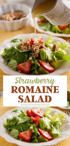 Impress your family this Mother's Day with Strawberry Romaine Salad! This easy recipe is a medley of simple ingredients tossed in a divine Italian dressing with a secret ingredient. Let your imagination run wild with the toppings! Save this and try it! Salad Recipes No Meat, Lettuce Salad Recipes, Side Dish Recipes, Healthy Recipes, Pasta Recipes, Side Dishes, Soup And Salad, Pasta Salad, Tuna Salad