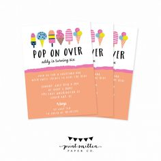 Summer Birthday Party Invitation. Printable Summer Bash Party invite. Kids Summer Ice Cream Popsicle Party Invitation. Custom Summer Invite by PrintSmitten on Etsy https://www.etsy.com/listing/233459046/summer-birthday-party-invitation