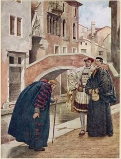 """Shylock, Bassanio and Antonio, Act I, """"With bated breath and whispering humbleness"""", Shakespeare's Comedy of The Merchant of Venice. With Illustrations by Sir James D. Linton, London : Hodder & Stoughton, n.d., ca. 1914"""