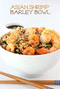 Asian flavored barley with zucchini and sauteed shrimp. Healthy and delicious!