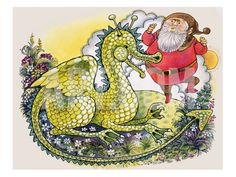 Dragon with Plump Bearded Man Giclee Print by English School at Art.com