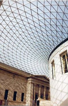 Glass roof from a British Museum with organic curves.