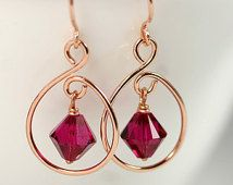 Rose Gold Ruby Earrings Wire Wrapped Jewelry Handmade Swarovski Crystal Earrings Swarovski Crystal Jewelry Rose Gold Jewelry Pink Gold
