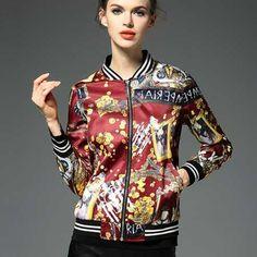 Womens bomber jackets graffiti design autumn jacket coat
