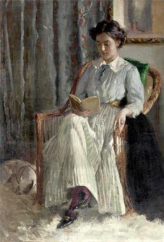 """Carl Theodor von Blaas (1886-1960) """"Giovane donna che legge"""""""