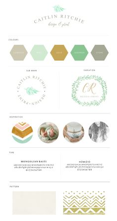 Caitlin RItchie Brand Board // A natural brand. Green, Gold, Mint, Grey. Elegant but natural Boho, Country, Natural, Design, Logo Design, Branding