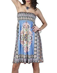 Creabygirls Womens Floral Printed Boho Beach Cover up Tube Dress Medium Blue -- Continue to the product at the image link.