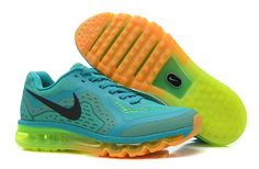 Mens Nike Air Max 2014 New Green Orange Black Shoes Online 96a22797f