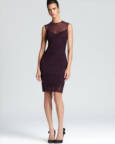 Nicole Miller Lace Dress - Sleeveless Illusion Top | Bloomingdale's