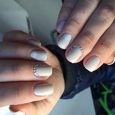 Wedding nails with rhinestones photo