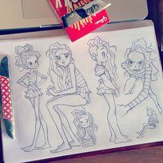 Макаронная голова #sketching #girls #hair #pencil