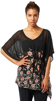 tropischer Chiffon-Kaftan für Frauen (gemustert, halb-Arm mit V-Ausschnitt) aus transparentem Chiffon, eingefasster Kordelzug an der Taille, mit floralem Muster. Material: 100 % Polyester...