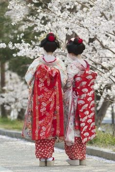 white kimono with red obi by briana
