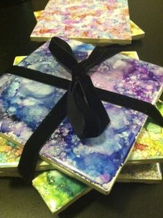 """""""Too fun not to try: DIY alcohol ink coasters"""" See how at http://blogs.denverpost.com/coloradoathome/2013/01/17/alcohol-ink-coasters/"""
