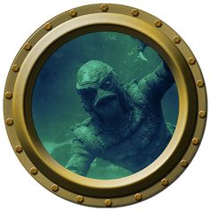 The Creature from the Black Lagoon Watches You Porthole Wall Decal