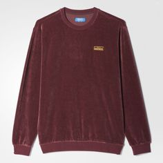 adidas Velour Crew Sweatshirt - Brown | adidas Regional ❤ liked on Polyvore featuring tops, hoodies, sweatshirts, crew-neck tops, red crewneck sweatshirt, velour tops, brown top and velour sweatshirt