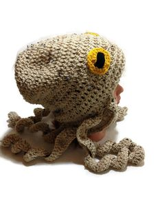 Octopus Hat, Octopus Costume, Tan Octopus Beanie, Slouchy Octopus Hat, Octopus Cosplay, Octopus Hair, Halloween Costume, Octopus Tentacle Nautical Crochet, Crochet Beanie, Crochet Toys, Knitted Hats, Knit Crochet, Crochet Octopus, Etsy Crafts, Yarn Crafts, Octopus Costume