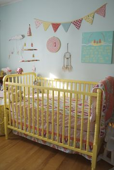 Yellow Jenny Lind Crib in this Colorful Boho Nursery