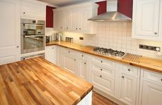 White kitchen with wood countertops wood kitchen countertops designs choose layouts White Kitchen Cabinets, Wooden Kitchen, New Kitchen, Kitchen Worktops, Kitchen Island, White Cupboards, White Kitchens, Rustic Kitchen, Country Kitchen