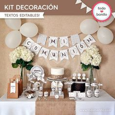 Resultado de imagen para gypsophila and wheat centerpieces first communion Decoration Communion, First Communion Decorations, Baptism Decorations, Baptism Centerpieces, Wheat Centerpieces, Balloon Decorations, Boys First Communion, First Communion Cakes, Communion Gifts