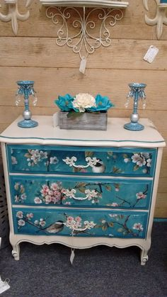 Painted French provincial dresser with painted/ decoupaged blue paper with flowers & birds Decoupage Furniture, Funky Furniture, Refurbished Furniture, Paint Furniture, Repurposed Furniture, Shabby Chic Furniture, Furniture Projects, Furniture Makeover, Vintage Furniture