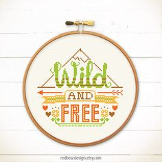 Funny Quote Cross stitch pattern PDF - Wild And Free - http://etsy.me/1P3YetH