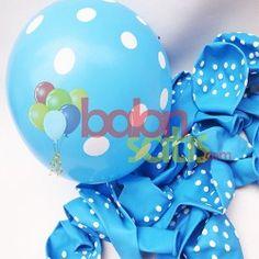 Beyaz Puantiyeli Balon www.balonsatis.com