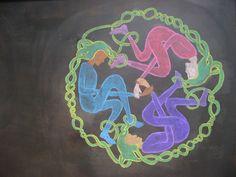 Waldorf ~ 4th grade ~ Form Drawing ~ Three Fates ~ chalkboard drawing