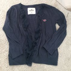 Navy hollister cropped ruffle cardigan Navy 3/4 sleeved tight cardigan Hollister Sweaters Cardigans