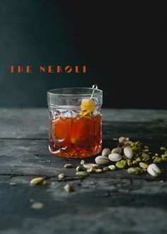 My friend Jason Neroni makes a neroni, a playful twist on a negroni with pistachio infused gin, but i today i'm making a Neroli with orange blossom water!