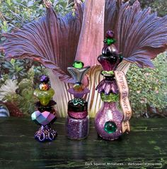 Corpse Flower Zombie trio of potions dollhouse miniature in 1/12 scale