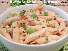 An Expat Cooks: Cheesy Buffalo Chicken and Ranch Pasta--Two of my favorite things, Buffalo chicken and ranch dressing, come together in this creamy, cheesy pasta dish. Ranch Pasta, Crushed Red Pepper, Ranch Dressing, Chicken Pasta, Buffalo Chicken, Tomato Sauce, Pasta Dishes, Pasta Recipes, Macaroni And Cheese
